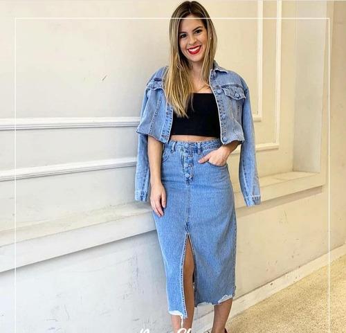 saia midi jeans feminino tendência blogueiras
