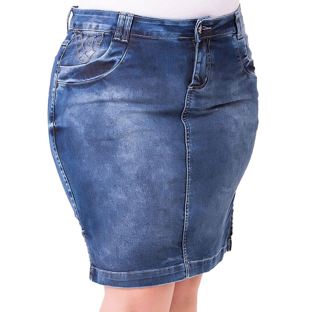 20d1d9e7b saia midi jeans secretaria com elastano - plus size - saj044. Carregando  zoom.