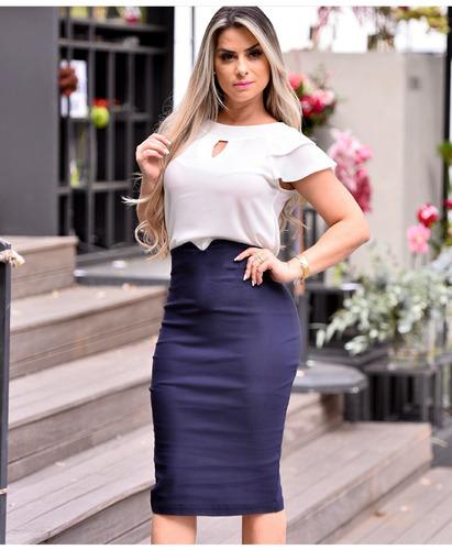 saia midi lapis cintura alta moda evangélica social feminina