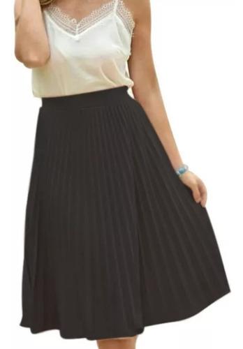 saia midi plissada moda evangélica gospel social crepe moda
