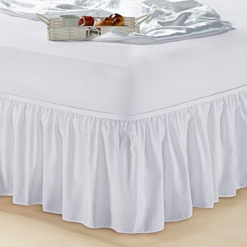 saia p/ cama box casal padrão 1 peça branca a mais barata