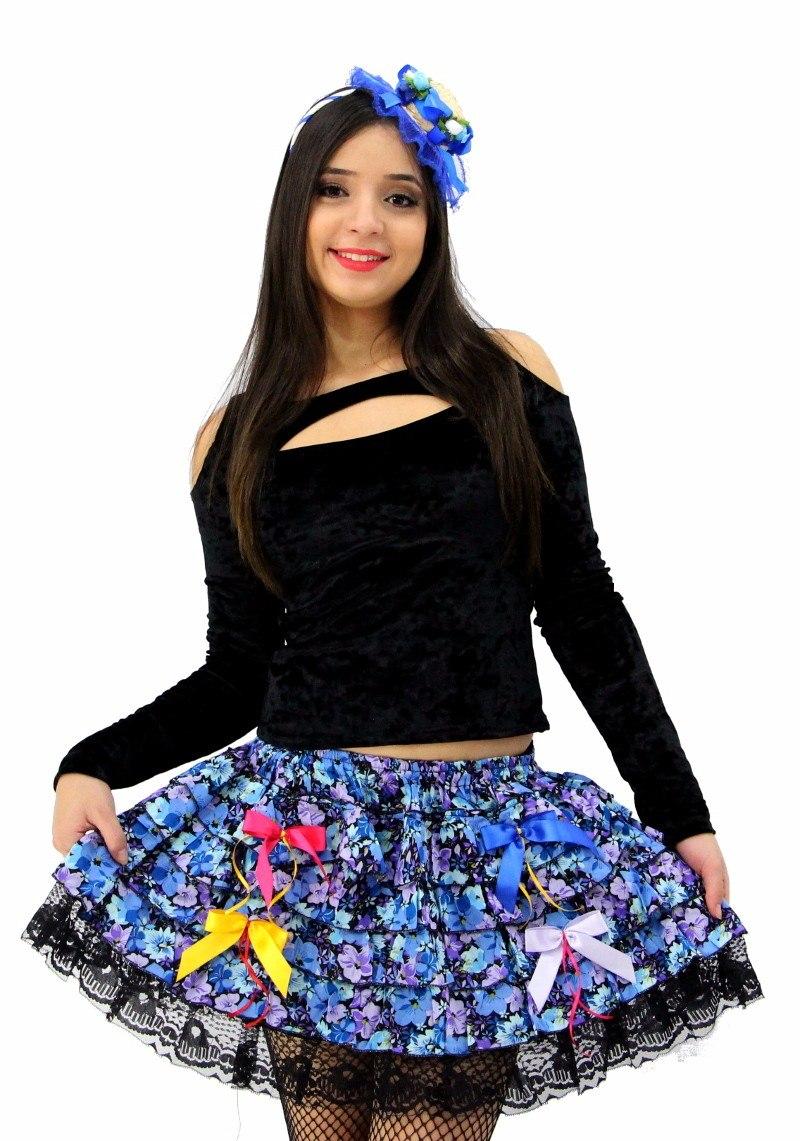 Saia P  Festa Junina Caipira Adulto + Tiara Decorada Luxo - R  99 28b14a831ff