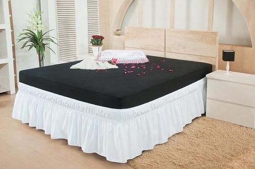 saia para cama box casal king duo elástico - branco