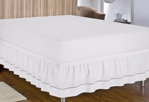 saia para cama box solteiro fácil de vestir elasticada