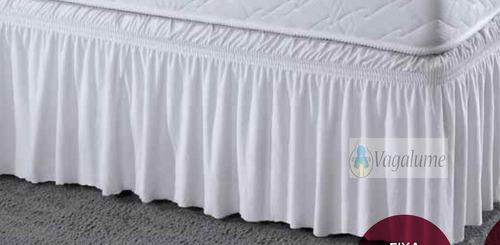 saia para cama box solteiro malha jersey branca