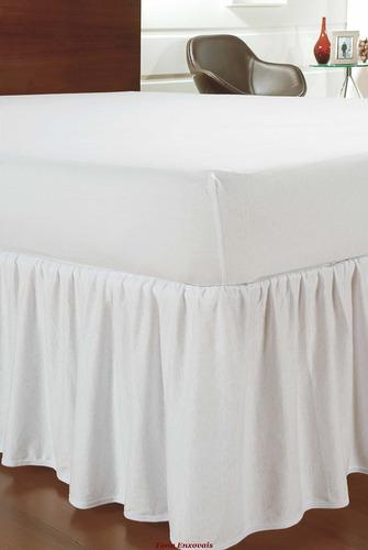 saia para cama casal queen palha branco com babado