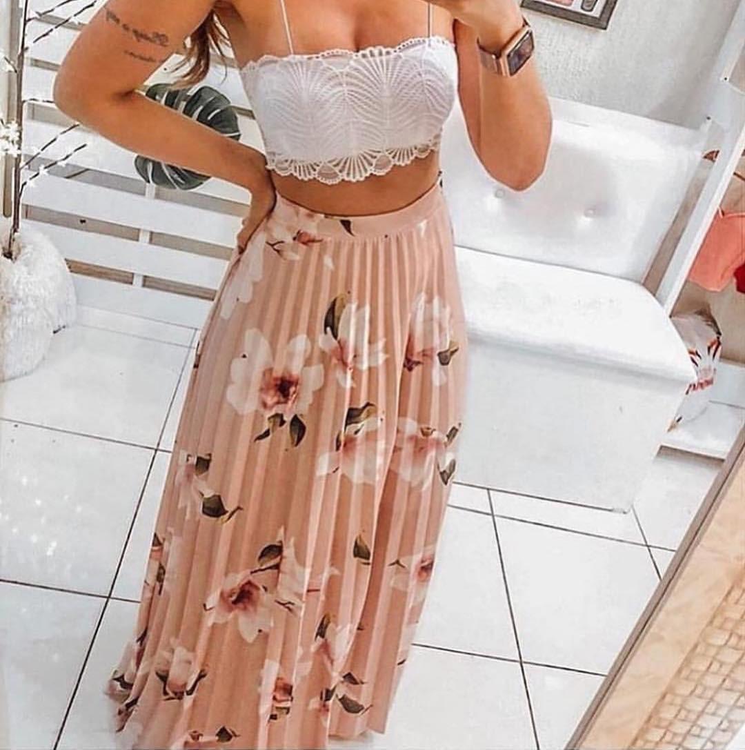 56dd26330 Saia Plissada Longa Floral Rose Moda Verão Blogueiras - R$ 109,90 em ...