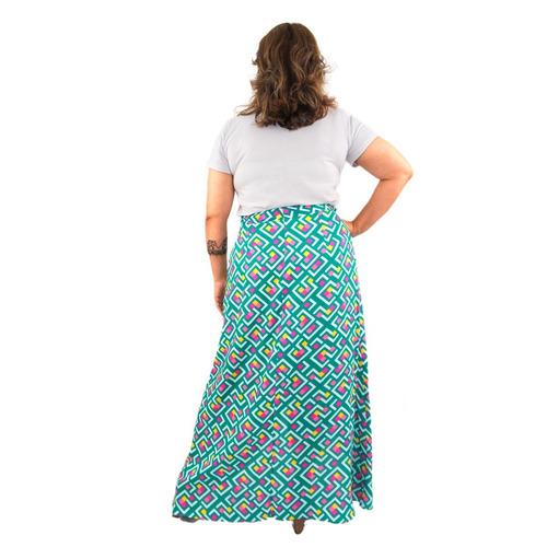 saia plus size longa floral transpassada viscose moda verão