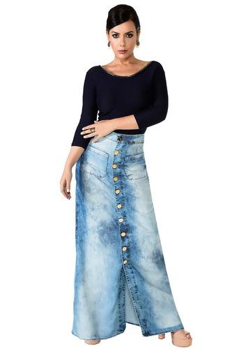 saia saia longa jeans botões moda evangélica estilo casual