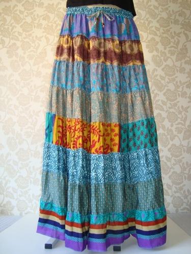 saia seda mista patchwork estampada longa indiana hippie 09