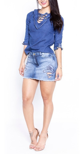 saia sol jeans curta detalhe bordado frontal azul