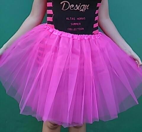 a6ed9a4415 Saia Tutu De Tule Rosa Pink Saia De Bailarina Adulto - R  49