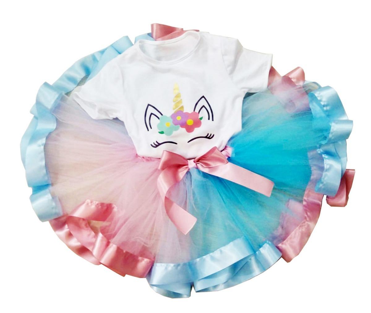 Saia Tutu Infantil Unicornio Cores Luxo Tule Fantasia Festa R 63