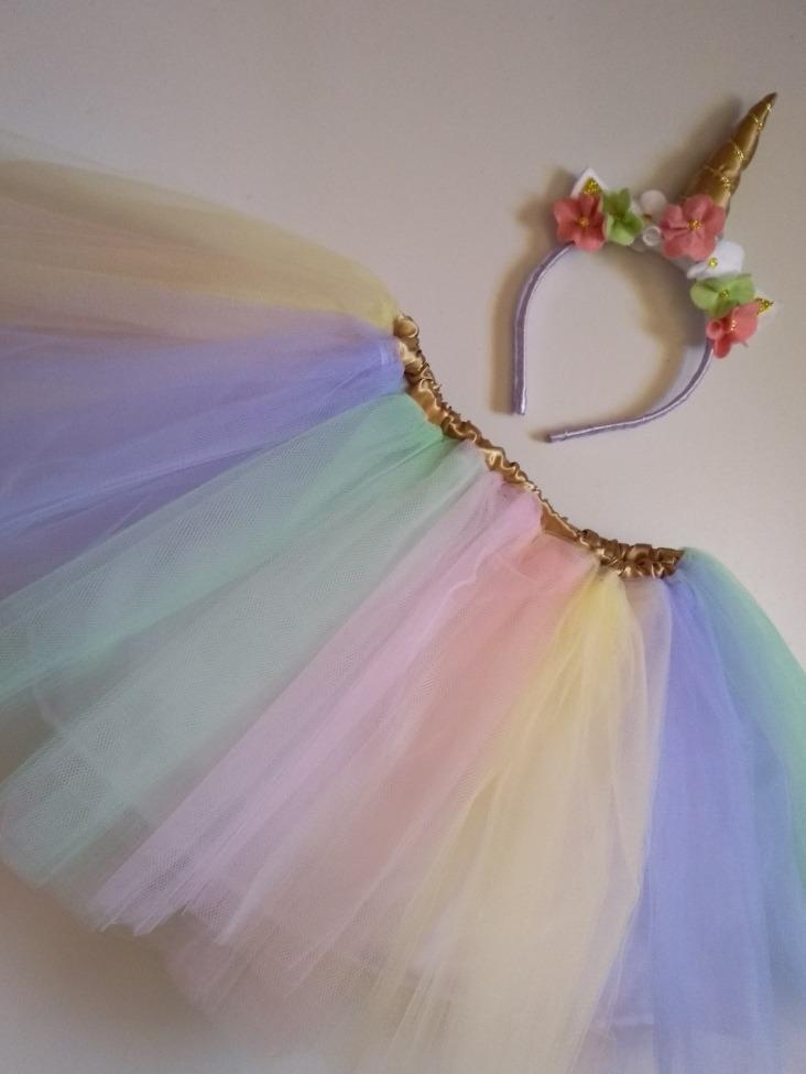 Saia Tutu Tule Conjunto Unicornio Infantil Fantasia Carnaval R 88