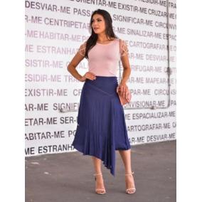 c0e79cd33ce Saia Jeans Transpassada Equus Femininas Saias Babado - Saias Azul em ...