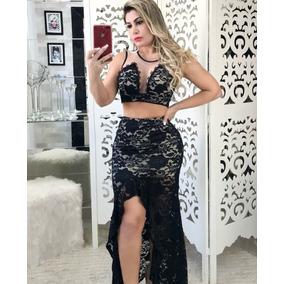 058a75169 Conjunto Renda Feminino Cropped + Saia Longa Panicat Balada