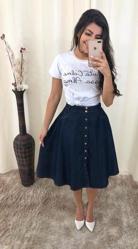 saias femininas moda evangélica jeans midi detalhes costura