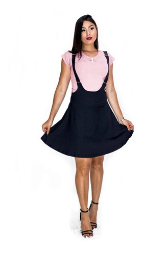 saias kpop moda cosplay estilo japonesa, preto alças