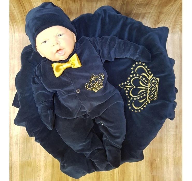 8608d4315753 Saída De Maternidade Inverno Príncipe Coroa Marinho Plush - R$ 79,90 ...