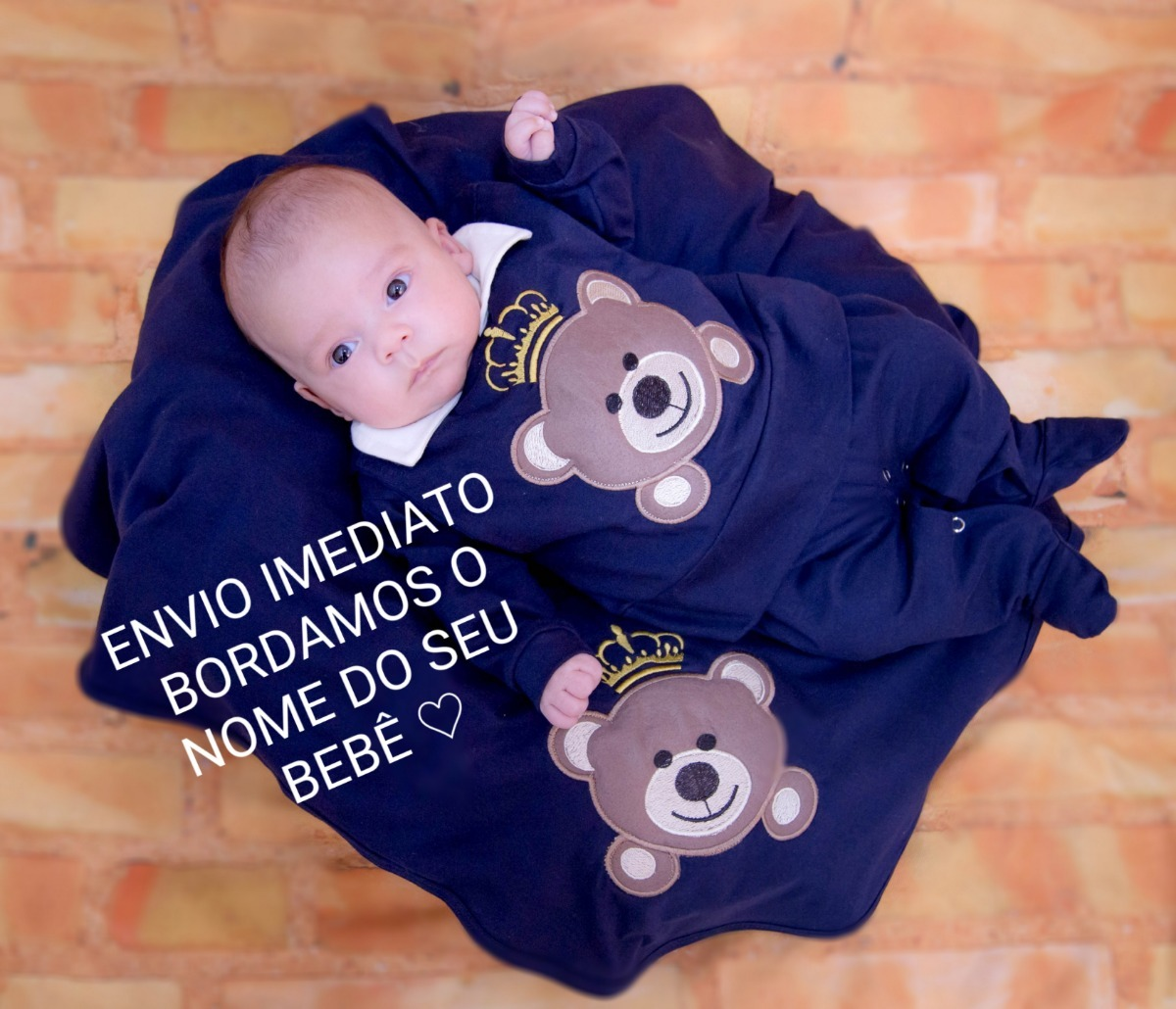 Saida De Maternidade Luxo Menino Urso Príncipe Marinho - R  120,00 ... 0a997b4fdb