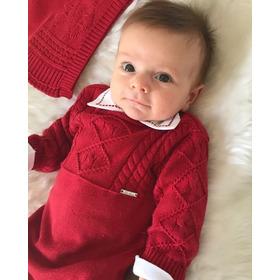 Saida De Maternidade Luxo Paraiso Bebê Menino Fio Trico 7956