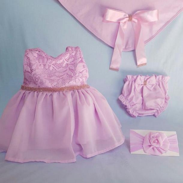 053361f4d Saída De Maternidade Menina Vestido Rosa Luxo Com Calcinha - R  100 ...