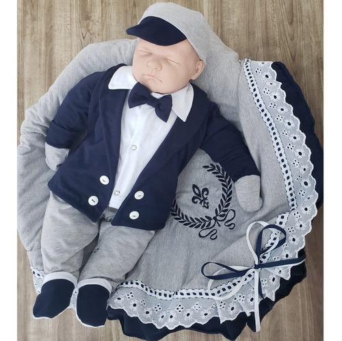 saída de maternidade menino príncipe arthur mescla cinza