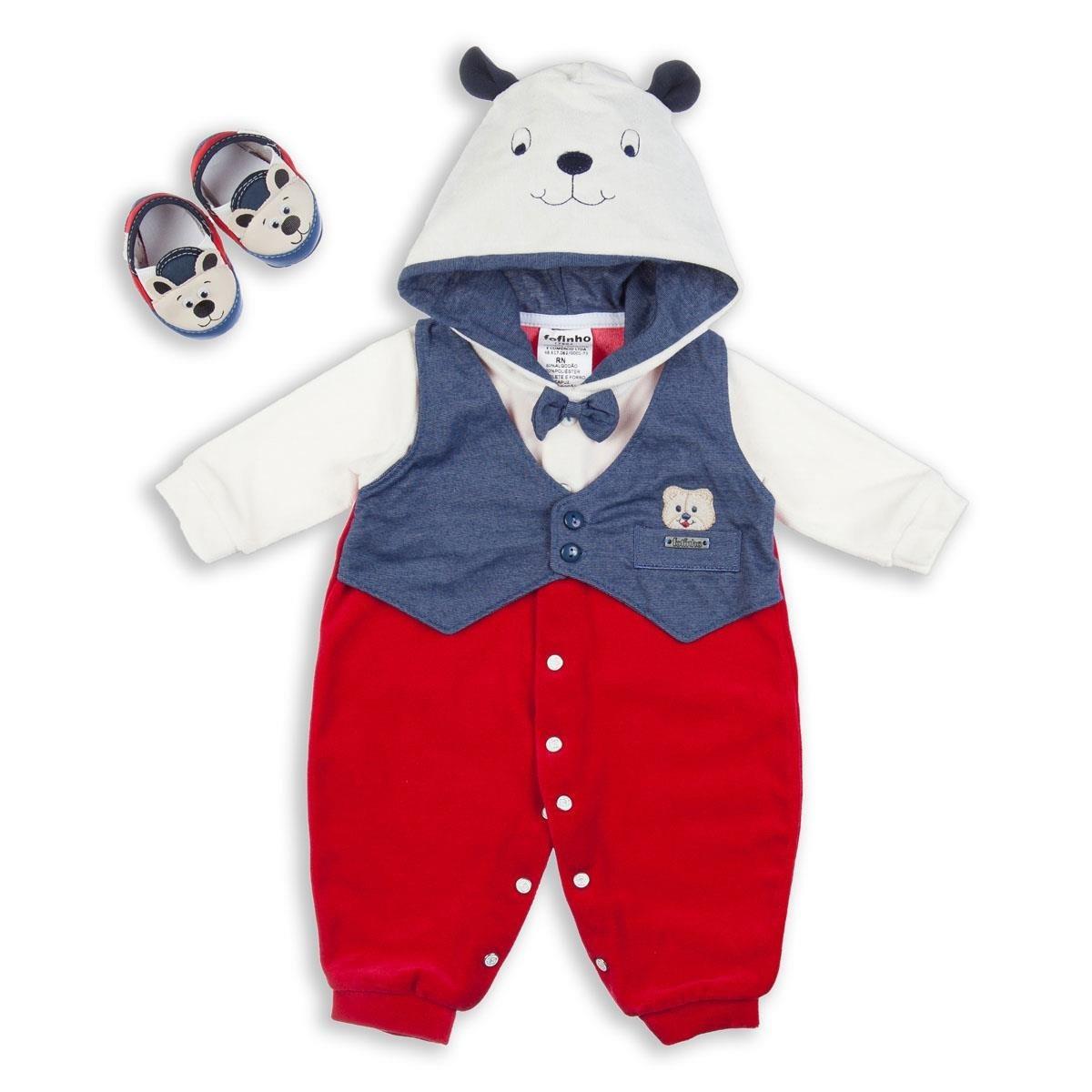 0e8c852ec3207 Saída De Maternidade Menino Urso Com Capuz - 17984 - R  162,60 em ...