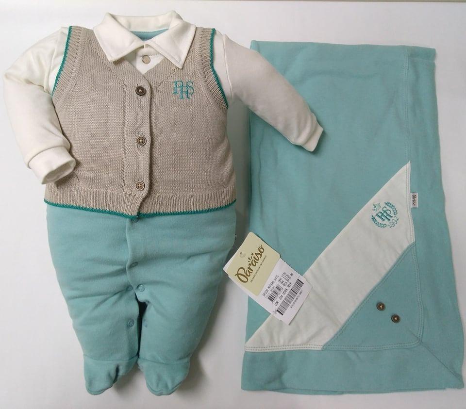 764116f1e saida de maternidade paraiso bebe menino colete luxo rf 8475. Carregando  zoom.