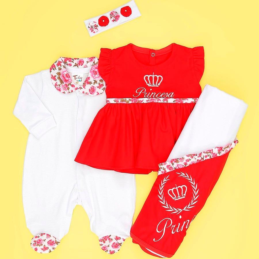 saída de maternidade princesa linda vermelho 4 peças p. Carregando zoom. 94a923f55c0