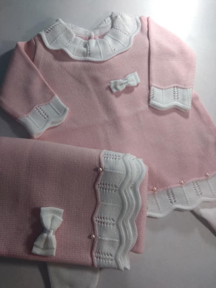 dda04101a8 saida de maternidade vestido trico linha menina 3pçs rosa. Carregando zoom.