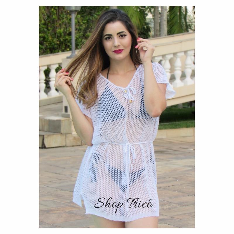 1268ab8a3 Saída De Praia De Crochê Comprar Trico Decote V Branca - R$ 22,99 em ...