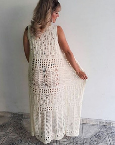 4a01f34f9 Saida Praia Croche Tecido - Vestidos Casual Bege com o Melhores ...