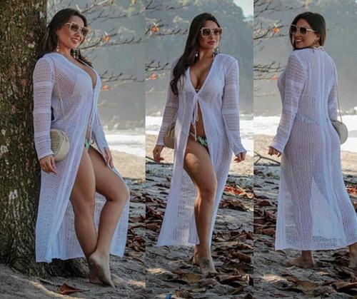 saída de praia longa renda tricot vestido roupas femininas
