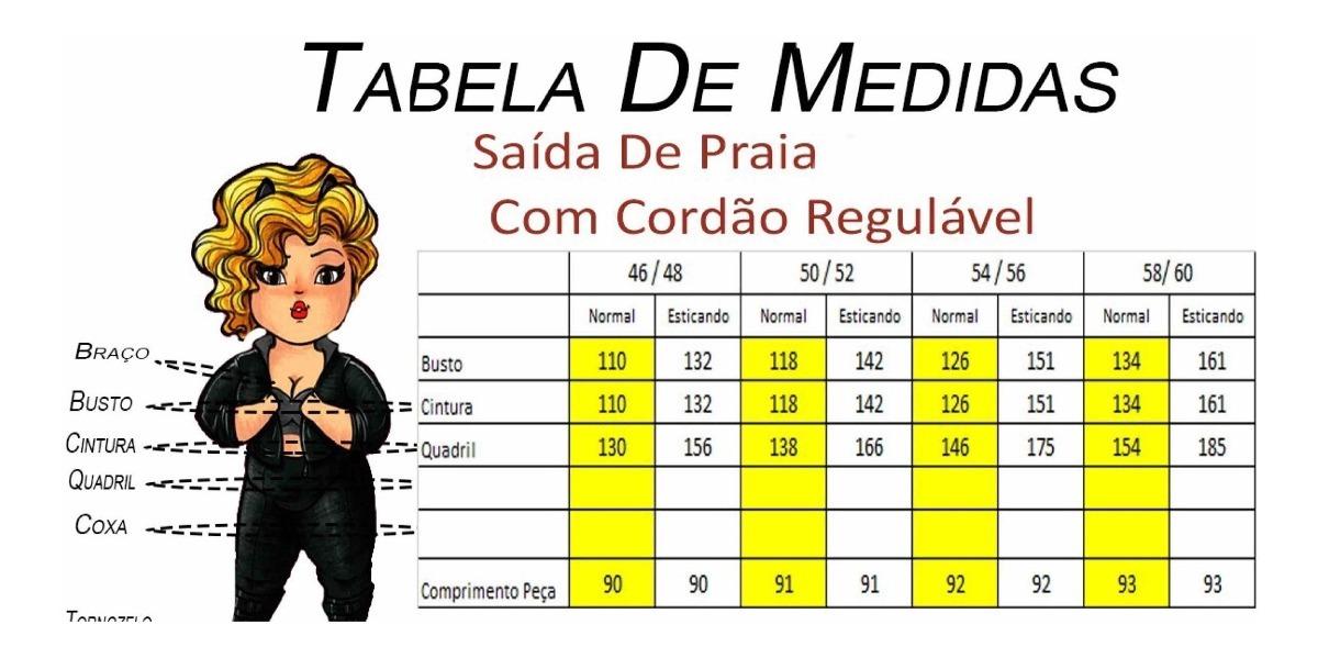 cf48db447 Saida De Praia Pluz Size Do Tam 46 Ao 60 Tamanhos Grande - R$ 79,90 ...