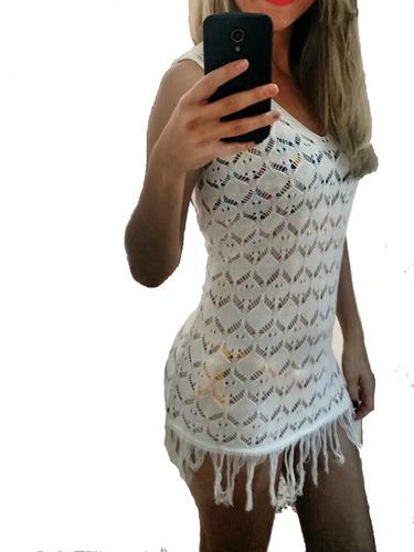 saída de praia trico banho vestido curto crochê promoção