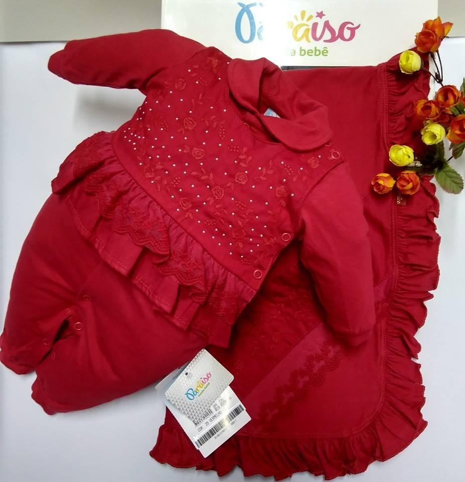 6f67ea98a8 saida maternidade bebê menina paraiso vermelha macacão 8338. Carregando  zoom.