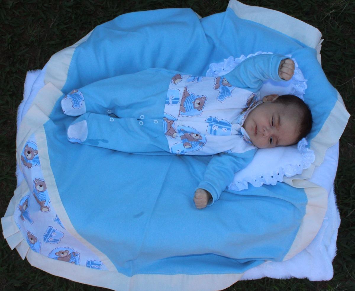 Saída Maternidade Menino Toque Básico Azul 4 Peças - R  72 086c4836e1e