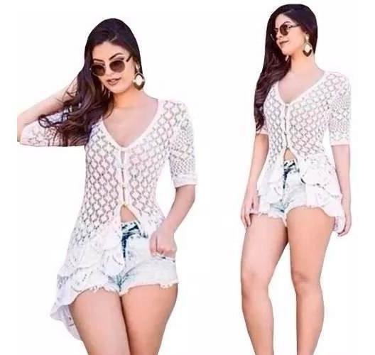 6e2d3cf19b42 Saida Praia Blusa Vestido Crochê Branco Envio Imediato! - R$ 64,99 ...