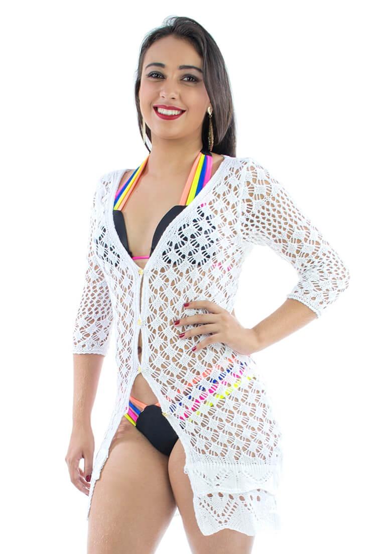 c102fa84e47a saida praia blusa vestido crochê branco # melhor preço. Carregando zoom.