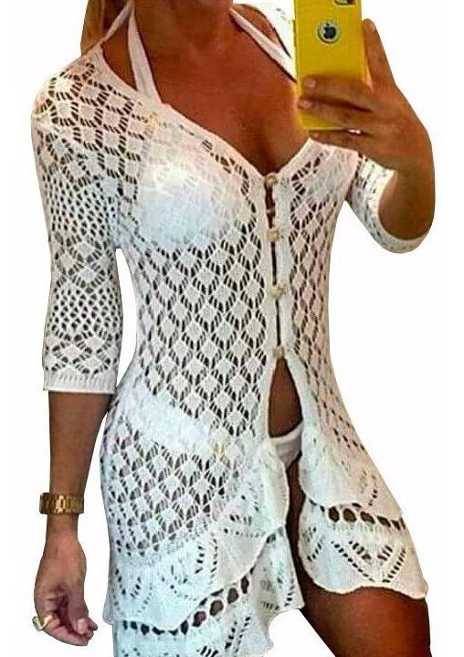 5cdaba8bf998 Saida Praia Blusa Vestido Crochê Branco Ou Preto - R$ 64,80 em ...
