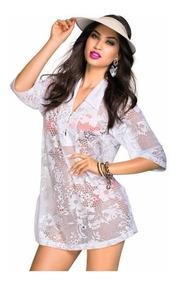 e09860fcd42c Saida De Praia Branca Camisao Tecido Fino Biquinis - Moda Praia com o  Melhores Preços no Mercado Livre Brasil