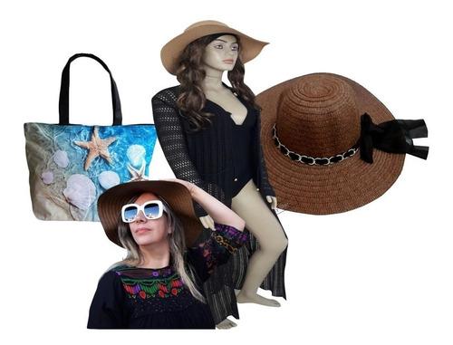 saída praia trico canga piscina + bolsa + chapéu