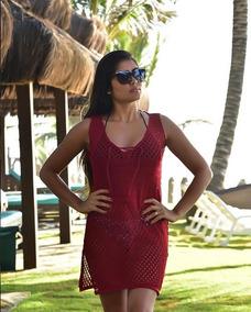 ea5518906 Vestido Tecido Mole Moda Praia - Calçados, Roupas e Bolsas Bordô no ...