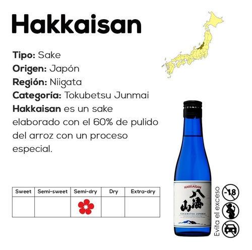 sake hakkaisan tokubetsu junmai (vino de arroz) 720ml