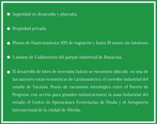 sakmá, terrenos industriales de inversión de 2500m2 en hunucma