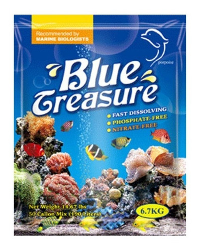 sal marinho blue treasure reef salt 6,7kg (bag) para corais