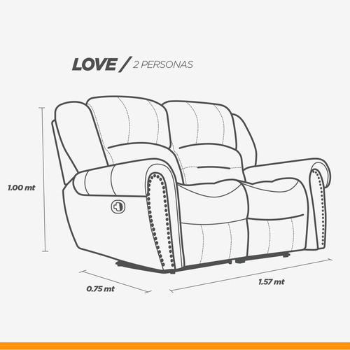 sala 100% piel reclinable sofa y love oxford - confortopiel