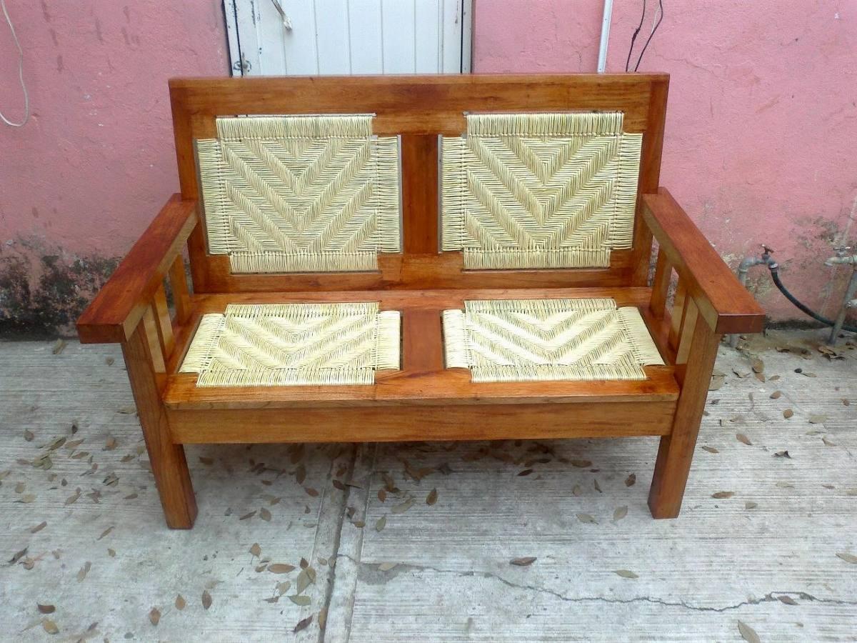 Sala de estar tejida con palma en madera de cedro - Muebles baratos palma de mallorca ...