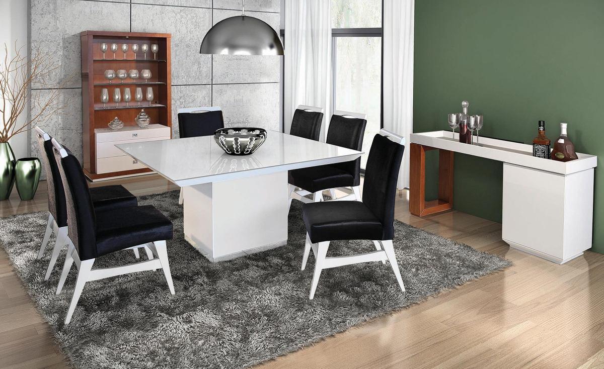 Adesivo De Madeira Para Moveis ~ Sala De Jantar 6 Cadeiras + Mesa + Aparador R$ 6 500,00 em Mercado Livre